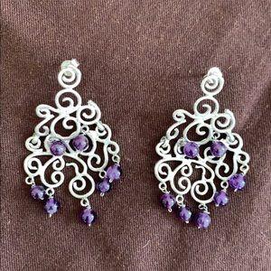 Jewelry - Silver Chandelier Earrings with Purple Beads